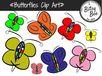 FREEBIE  Rainbow Butterflies Clip Art.