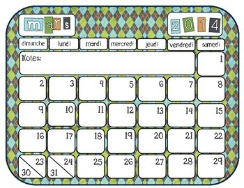 FREEBEE: Colouful French  & English Calendar Pages 2014