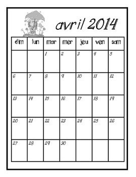 FREEBEE: Cute French Calendar Pages 2014 Color and Black and White