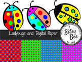 FREEBEE  Ladybugs and Digital Paper.  (Bitsy Bee Clip Art)