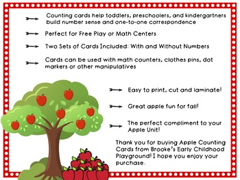 FREEBIE! 1-10 Apple Counting Cards for Preschool and Kindergarten