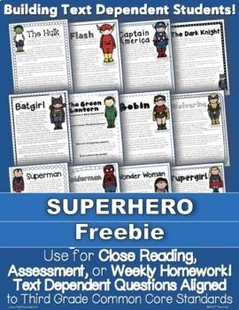 FREEBIE: 1 Superhero Passage for Close Reading, Homework, Assessment & More