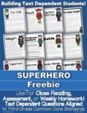 FREEBIE: 1 Superhero Passage for Close Reading, Homework, Assessment & More
