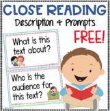 Close Reading Prompts and Poster FREE
