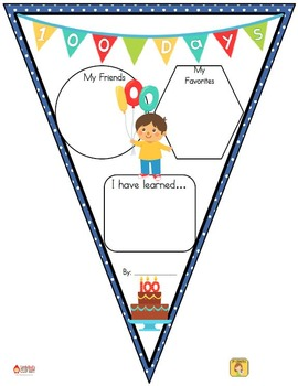 FREEBIE 100th Day Pennant Banner Worksheet