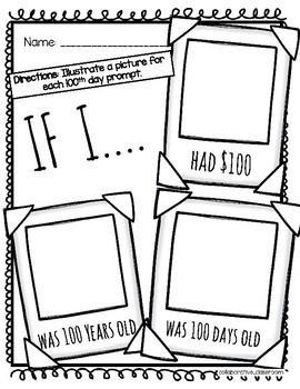 FREEBIE- 100th Day Of School Snapshot