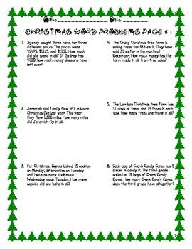 FREEBIE 12 Christmas Math Word Problems