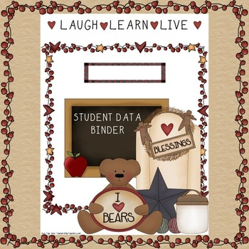 Student Data Binder COVER in Primitive Country
