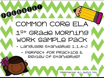 *FREEBIE* 1st Grade Language Morning Work Pack