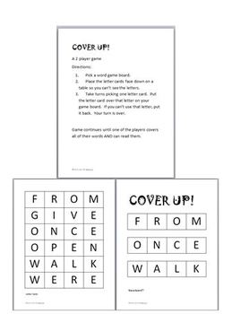 FREEBIE! 1st grade Dolch Sight Word Cover Up Games