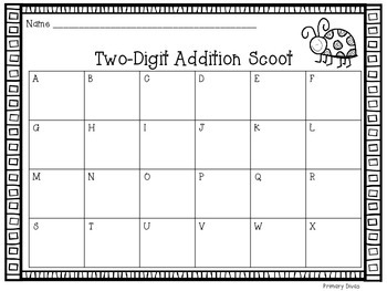*FREEBIE* 2-Digit Addition Scoot with and without Regrouping