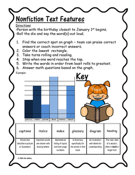 FREEBIE – 2 Roll Read and Graph games - Nonfiction Text Features & Fiction