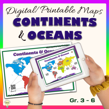 FREEBIE 2 in 1 Continents and Oceans Poster with QR Code