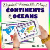Continents and Oceans World Maps Poster Digital & Printabl