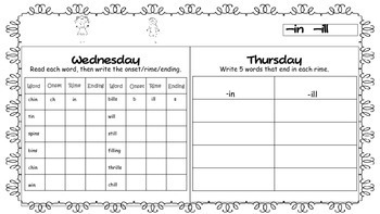 FREEBIE - 2 weeks Word Work Homework - 1st Grade