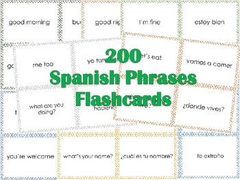 FREEBIE 200 Spanish Phrases Flashcards