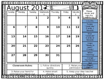 2017-2018 Editable Behavior Calendars