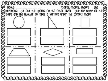 FREEBIE 2D Shapes Math Tub/Center Sort