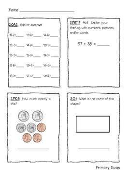 *FREEBIE* 2nd Grade Math Daily Review - Aligned with Common Core