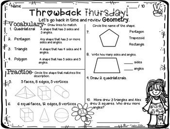 FREEBIE 2nd Grade Math Standards Review