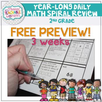 FREEBIE 2nd Grade Math Spiral Review