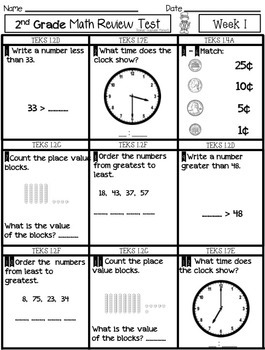 FREEBIE 2nd Grade Math Spiral Review