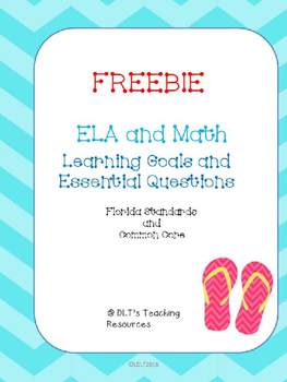 """FREEBIE 2nd and 1st ELA- Marzano """"I can"""" Statements and Essential Qu's."""