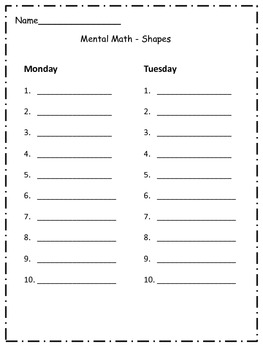 FREEBIE 2nd and 3rd grade Mental Math Review - Shapes