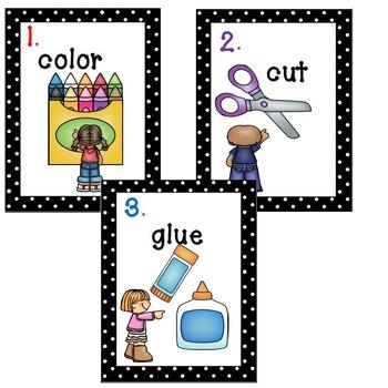 FREEBIE! 3 Step numbers in various fonts PLUS Color, Cut, Glue Posters