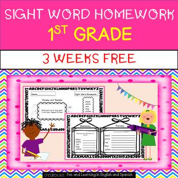FREEBIE - 3 weeks Sight Word Homework - 1st Grade