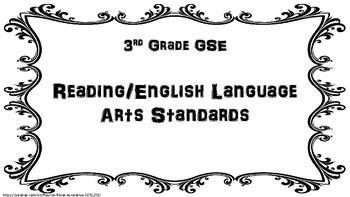 "FREEBIE 3rd Grade ELA GSE & ""I Can"" statements"