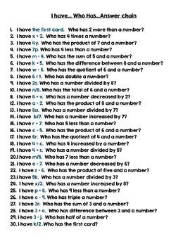 FREEBIE - 4th Grade Algebra Expressions I Have Who Has Game (CCSS 4.OA.A.3)