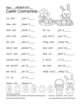 """Easter ELA"" Contractions - Contraction Fun! (color & black line)"
