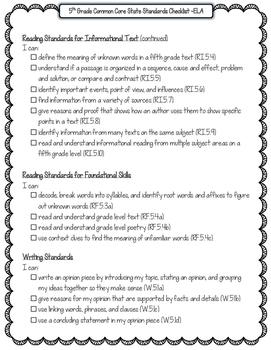 FREEBIE 5th Grade ELA Common Core State Standards Checklist