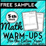 FREEBIE: 5th Grade Math Warm Ups, Morning Work, Bell Ringers, Homework