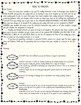 FREEBIE 5th Grade Reading Log Homework