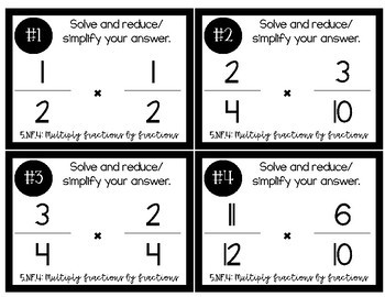 FREEBIE! 5th Grade Task Cards 5.NF.4: Multiply Fractions by Fractions