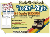 "FREEBIE - 9 Back to School TASK CARDS - ""Instagram Style"" Activity- Grades 6-12"