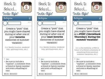 "FREEBIE - 9 Back to School TASK CARDS - ""Instagram Style"" Activity- Grades 6-12"
