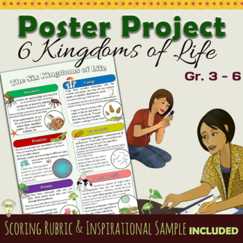 FREEBIE 6 Kingdoms Poster Project Intsructions with Grading Rubric