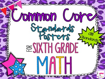 {FREEBIE} 6th Grade Math Common Core *Standards Posters* Cheetah Print