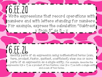 {FREEBIE} 6th Grade Math Common Core *Standards Posters* Giraffe Print