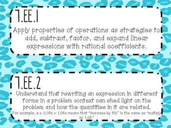 {FREEBIE} 7th Grade Math Common Core *Standards Posters* Cheetah Print