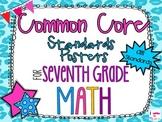 {FREEBIE} 7th Grade Math Common Core *Standards Posters* C