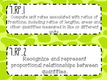 {FREEBIE} 7th Grade Math Common Core *Standards Posters* Giraffe Print