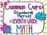 {FREEBIE} 7th Grade Math Common Core *Standards Posters* N