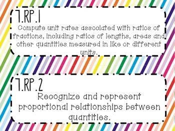{FREEBIE} 7th Grade Math Common Core *Standards Posters* Rainbow Stripes