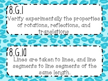 {FREEBIE} 8th Grade Math Common Core *Standards Posters* Cheetah Print