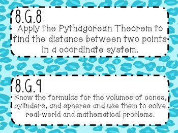 {FREEBIE} 8th Grade Math Common Core *Standards Posters* Cheetah Print