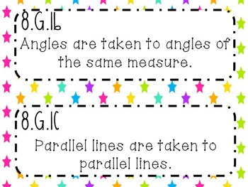 {FREEBIE} 8th Grade Math Common Core *Standards Posters* Neon Stars